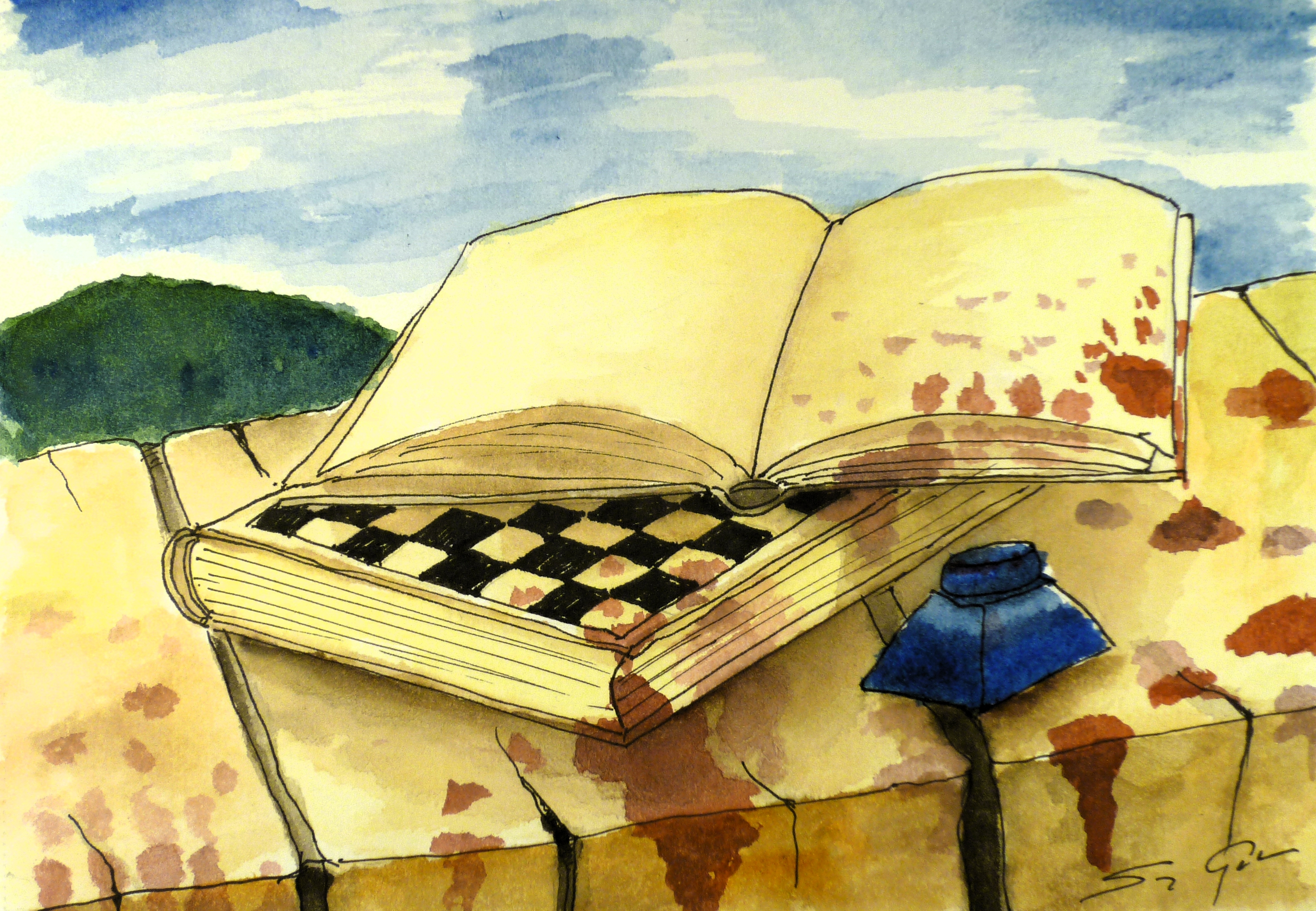 gabor-suveg-painting-libraria-chess-book-and-diary